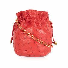 Chanel Rosso Vintage pelle di Struzzo Coulisse Borsa