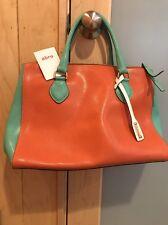 NWT ABRO Handbag - Green - Orange - White - Leather Summer Satchel