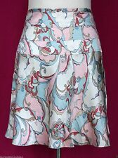 TOMMY HILFIGER SILK Pink White Blue Swirl Print A-Line Skirt - 10, Flare, Knee
