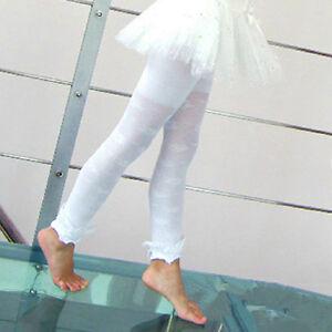 Girls Footless White Flower Leggings Lace Stockings EASTER Ballarina Size 4-6