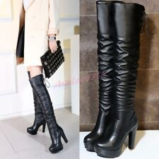Women Stretchy Lace UP Round Toe Platform Over Knee High Boots Shoes Block Heel