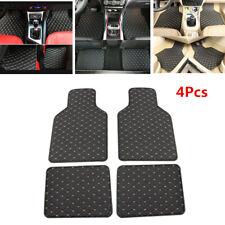 4Pcs Black PU Leather Car Floor Mats Front Rear Carpet Protect Pad Waterproof