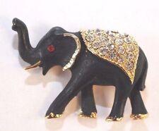 Brooch Pin - Elephant - Black Enamel - Red and White Rhinestones - Gold Tone
