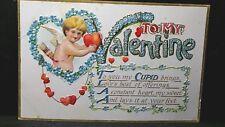 To My Valentine YOU MY CUPID BRINGS Vintage Post Card CUPID UNUSED BPC 209