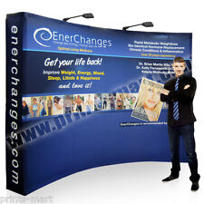 10ft Trade Show Booth Tension Fabric Pop Up Display Banner Stand Free Printing