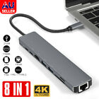 8in1 USB-C 3.1 To Type-C USB 3.0 Hub HDMI RJ45 Ethernet Micro SD TF OTG Adapter