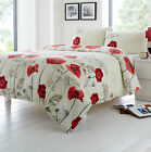 Red Cream Beige Floral Poppy King Size 120 Thread Count Cotton Blend Duvet Cover