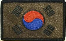SOUTH KOREA Flag Tactical Patch With VELCRO® Brand Fastener Brown & Black Colors