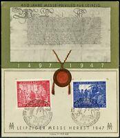 GERMANY DEUTSCHE POST 500th ANNIVERSARY LEIPZIGER MESSE HERBST CARD 7.8. 47
