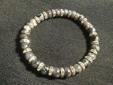 Larvikite & Swarovski Crystal Bracelet