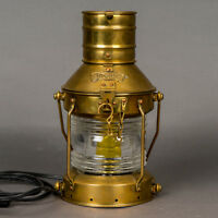 Vintage Anchor Marine Brass Lantern Converted Electric Clear Fresnel Nautical
