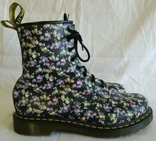 Dr. Doc Martens Womens Black Floral Flowers Lace Up Leather Boots Airwair US 11