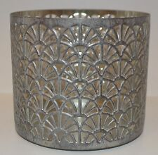 BATH BODY WORKS FANS SILVER GRAY METAL LARGE 3 WICK CANDLE HOLDER SLEEVE 14.5OZ