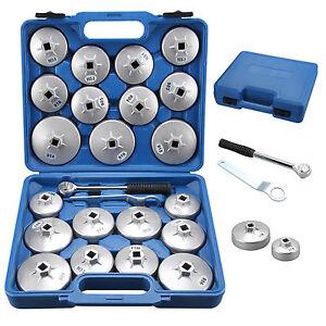 23pcs Cup Type Aluminum Oil Filter Wrench Set Socket Removal Garage Tool Cap UK