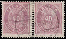 Iceland Scott 18 Horz. Pair (1882) Used VF, CV $95.00  C