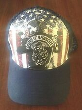 Authentic Sons Of Anarchy Jax Usa American Flag Soa Biker Samcro Trucker Hat Cap