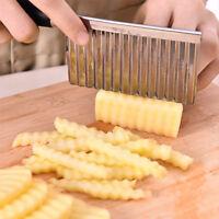 Edelstahl Wellenschneider Kartoffelchip Gemüse Garniermesser Frites Küche Tool G