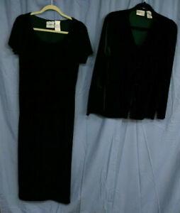 Kathie Lee Velour Dress Suit, Button-Front Jacket, Full-Length Dress, Size 12 XL