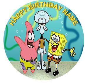 Spongebob Personalised Edible Birthday Party Cake Topper 19cm Round Image