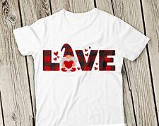NEW! Love Gnome Buffalo Plaid Pattern St.Valentines Day T-shirts Sweaters S-3XL