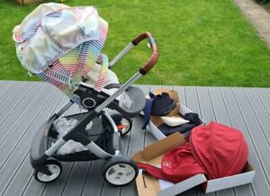 Stokke Crusi With Summer Kit Extra Burgundy Black Rain Covers Newborn insert LOT