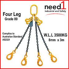 CHAIN SLING GR80 4 LEG 8MM X 3M W.L.L 3500KG C/W 4XSHORTENING HOOK & 4XSAFETY HO