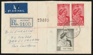 GOLD COAST : 1948 KGVI Silver Wedding FDC Registered cover Airmail to Tanganyika