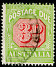 AUSTRALIA SG D95, 3d carmine & yellow-green, FINE USED, CDS. PERF 14.