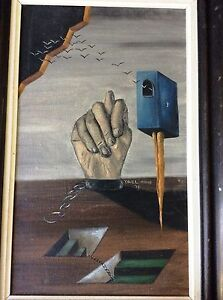 YAEL MOORE , Oil on Canvas, Surreal Landscape, Signed, Dated 1978