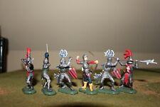 W. Britain Deetail Painted Plastic, Medieval Foot Knights,  6 Figures
