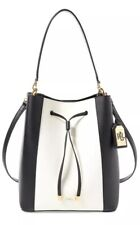 New Ralph Lauren Dryden Debby Drawstring Bold color-blocking black vanilla bag