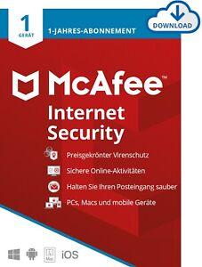 McAfee Internet Security 1 Gerät / 1 Jahr Gültig für 2021 / 2022 (DEUTSCH) / KEY