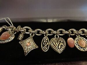 SILVER TONE AND PINK HEARTS  BRACELET WITH CHARMS