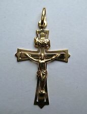 9ct Gold Small Crucifix on flared Cross Pendant 1.4g Hallmarked