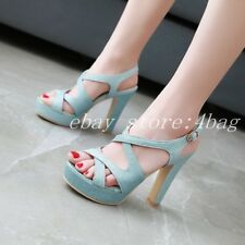 New Peep Toe Women's Wedding Shoes Platform Block Heels Sandals Roman Slingbacks