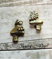 4 Alice in Wonderland Charms Pendants Caterpillar Charms Mushroom Charms Bronze