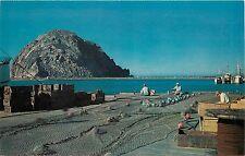 Vintage Postcard Morro Bay CA Fishermen Mending Nets Morro Rock, San Luis Obispo