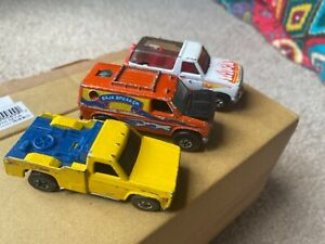 Lot of 3 Hot Wheels 1982 Orange Baja Breaker 1980 White Truck 1974 Yellow Truck