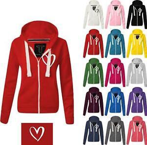 Women Ladies LOVE HEART Zipped hoodie Sweatshirt Top Jumper Jacket Hoody