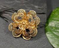 Vergoldete Silber Brosche Jugendstil Art Deco Filigran Blumig Lieblich Blüten
