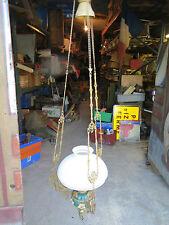 suspension lustre plafonnier 19ème barbotine abat jour opaline Art Nouveau