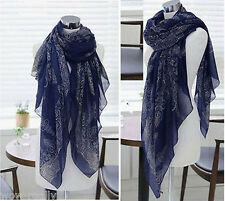 Lady Women's Fashion Long Big Soft Cotton Voile Dark Blue Scarf Shawl Wrap