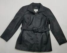Worthington Womens Petite Genuine Leather Coat Black Size Medium C23