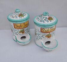 1 Barattolo Porta Sale con vaschetta autoriempitiva in ceramica di vietri TS
