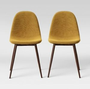 "BRAND NEW PROJECT 62 COPLEY (SET OF 2) 33"" DINING CHAIRS MUSTARD YELLOW"