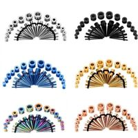 28pcs Lots Ear Gauges Kit Tapers Stretching Kit Piercing Stainless Steel 12G-00G