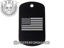 Dog Tag Military ID K9 Chain Silencer Laser Engraved BLK US Flag