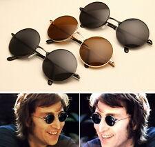 John Lennon Sunglasses Round Hippie Shades Retro Smoked Lenses Gold Metal A*
