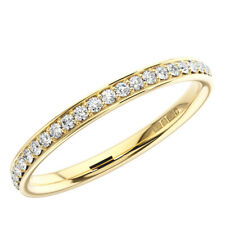 2.0mm Bead and Bright-Cut set Round Diamond Half Eternity Ring in 9K Yellow Gold