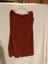 Marina Rinaldi Red Goat Leather Skirt Women Euro Made In Spain Front Zip